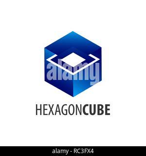 Hexagon cube logo concept design. Symbol graphic template element vector - Stock Photo