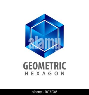 Geometric hexagon three dimensional style logo concept design. Symbol graphic template element vector - Stock Photo