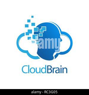 Cloud Brain digital human logo concept design. Symbol graphic template element vector - Stock Photo