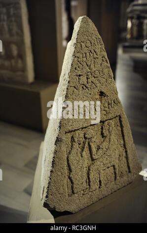 Pyramidal Grave Stele. 5th century BC. Limestone. From Sinope (Sinop). Archaic Period. Archaeological Museum. Istanbul. Turkey. - Stock Photo
