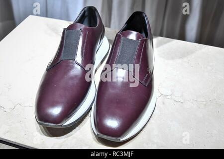 Milan, Italy. 13th Jan, 2019. Milan Fashion Week Fashion Man Fall Winter 2019/2020. TOD'S presentation. In the photo: model Credit: Independent Photo Agency/Alamy Live News - Stock Photo
