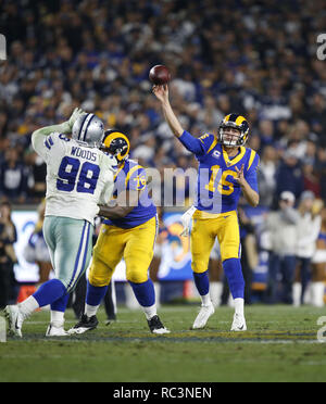 January 12, 2019 - Los Angeles, California, U.S - Los Angeles Rams Jared Goff passes against the Dallas Cowboys in a NFC Divisional playoff game at the Los Angeles Memorial Coliseum.  The Rams won 30-22. (Credit Image: © KC Alfred/ZUMA Wire) - Stock Photo