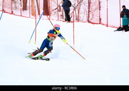 Quebec, Canada. 13th Jan 2019. Hayley Conrad of Canada competes in the Super Serie Sports Experts Ladies slalom race held at Val Saint-Come Credit: richard prudhomme/Alamy Live News - Stock Photo