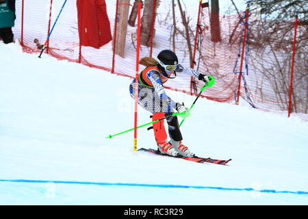 Quebec, Canada. 13th Jan 2019. Charlotte Heward of Canada competes in the Super Serie Sports Experts Ladies slalom race held at Val Saint-Come Credit: richard prudhomme/Alamy Live News - Stock Photo