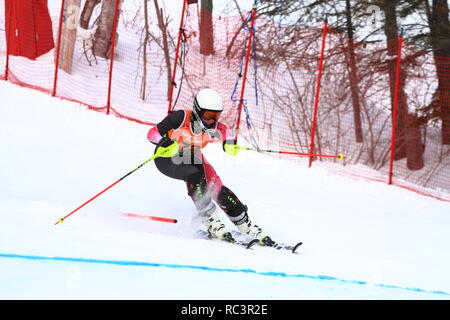 Quebec, Canada. 13th Jan 2019. Flavie Drolet of Canada competes in the Super Serie Sports Experts Ladies slalom race held at Val Saint-Come Credit: richard prudhomme/Alamy Live News - Stock Photo