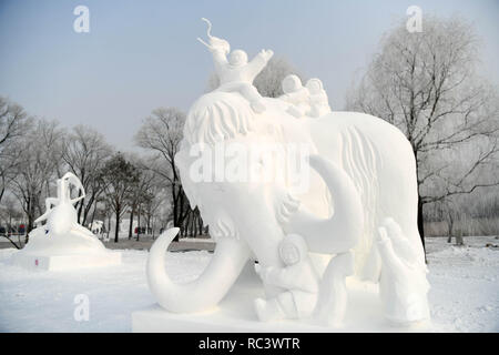 Beijing, China. 13th Jan, 2019. Photo taken on Jan. 13, 2019 shows snow sculptures during the 24th Harbin International Snow Sculpture Competition at Sun Island International Snow Sculpture Art Expo park in Harbin, capital of northeast China's Heilongjiang Province. The competition ended on Sunday. Credit: Wang Jianwei/Xinhua/Alamy Live News - Stock Photo