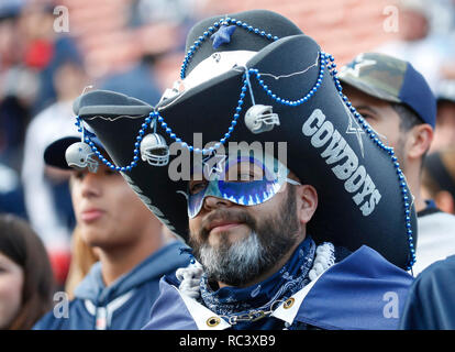 January 12, 2019 Dallas Cowboys fan during the NFC Divisional Round playoff game between the game between the Los Angeles Rams and the Dallas Cowboys at the Los Angeles Coliseum in Los Angeles, California. Charles Baus/CSM. - Stock Photo
