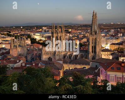 Time-blended sunset/night view over the city and cathedral of Burgos in Spain