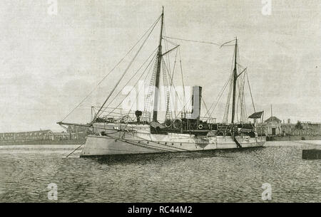 Torpedo gunboat called 'Nueva Espana'.  Built in the arsenal of 'La Carraca'. Engraving by Rico in 'The Spanish and American  Illustration,' 1892. - Stock Photo