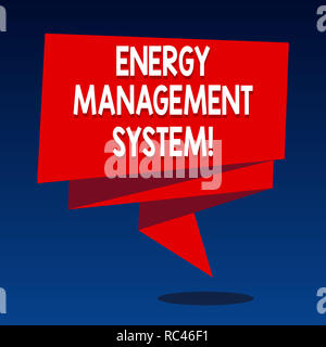 Handwriting text writing Energy Management System. Concept meaning Use to monitor the perforanalysisce of system generation Folded 3D Ribbon Strip Sol - Stock Photo