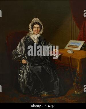 Mrs Louisa Brown holding the journal of her son Major Lewis Brown (5th Bombay N.I.). Her son won fame as defender of the fort at Kahan in Baluchistan in 1840. She is wearing a black satin dress, grey and black stole and white bonnet and is seated at a table covered with a golden-brown cloth. In her right hand she holds her spectacles and in her left a red bound journal. On the table lies a letter, and a water colour drawing of Kahan Fort, Baluchistan, is propped up against two books. c.1841 European school|British school. oil paint canvas. Source: Foster 825. Author: ANON. - Stock Photo