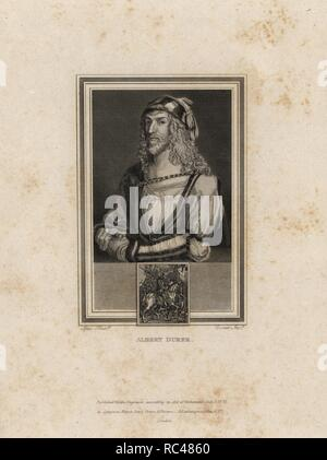 Self portrait of Albert Durer (1471-1528), German Renaissance landscape, history and portrait painter. This portrait is from 1513 when the artist was 42 years old.. Steel engraving by John Corner from 'Portraits of Celebrated Painters with Medallions from their Best Performances' 1825. - Stock Photo