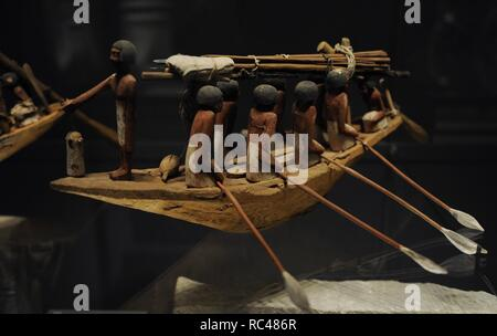 Egyptian Art. Boat. From the tomb of Wadjet-hotep at Sedment. Wood. 7th-11th Dynasty. c. 2150-2050 B.C. Ny Carlsberg Glyptotek. Copenhagen. Denmark. - Stock Photo