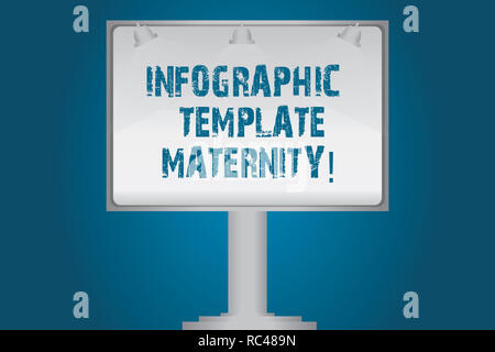 Handwriting text Infographic Template Maternity. Concept meaning Motherhood elements, material and guidelines Blank Lamp Lighted Color Signage Outdoor - Stock Photo