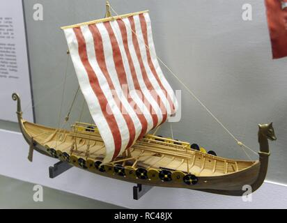 History of navigation. Middle ages. Europe. Viking ship. 9th century. Found in 1880, Norway. Model of A. Twill, 1988. Museum of History and Navigation. Riga. Latvia. - Stock Photo