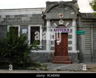 Ukraine. Autonomous Republic of Crimea. Yevpatoria. Pharmacy. Facade. - Stock Photo