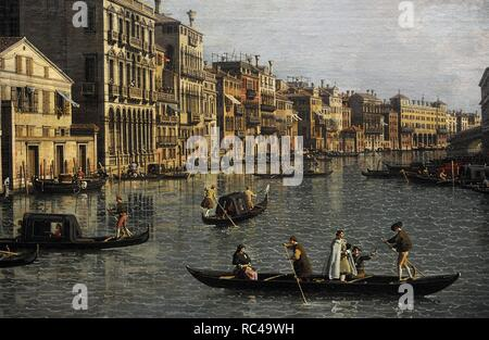 Canaletto (1697-1768). Italian painter. Grand Canal Looking South-East from the Campo Santa Sophia to the Rialto Bridge, c. 1756. Detail. Gemaldegalerie. Berlin. Germany. - Stock Photo