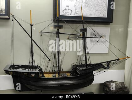 History of navigation. Middle Ages. Hokl or Holke, boat widely used in northern Europe, and ship goods. 15th-16th centuries. Model by unknown author (19th century). Museum of History and Navigation. Riga. - Stock Photo