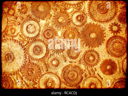 Grunge background with paper texture and vintage machine gears and cogwheel. Can be used for steampunk and mechanical design - Stock Photo