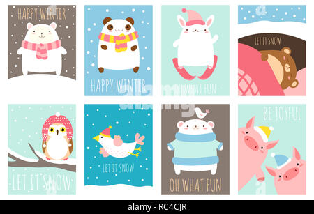 Happy winter. Set of template card with cute animals and winter scenes with snow. Inscription let it snow, oh what fun, be joyful. EPS8 - Stock Photo