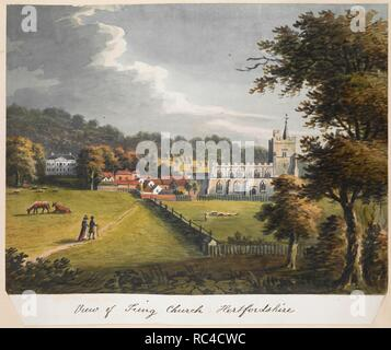 Figures and cattle in a field on the left; sheep in a field on the right; Tring Park to the left behind; the village and Church of Saints Peter & Paul, Tring behind on the right. View of Tring Church Hertfordshire. c. 1790-1810. Watercolour and gum arabic. Source: Maps K.Top.15.58.b. Language: English. - Stock Photo