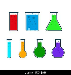 Set of test tube icons in flat design. Vector Illustration. Colored chemical laboratory flasks. - Stock Photo