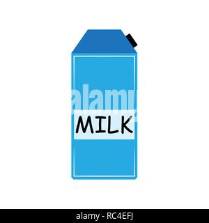 Dairy paper pack in flat design. Vector illustration. Milk carton box isolated - Stock Photo