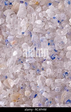 Persian Blue Salt crystals surface, macro photo. Fine rock salt from Iran. Seasoning. - Stock Photo