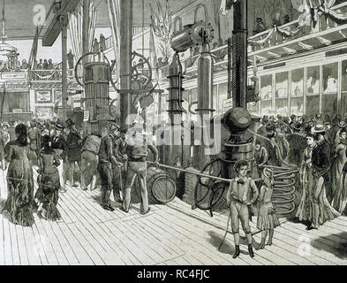 Industrial and agricultural exhibition held by the company 'Tranquil-Taller'. Engraving by Ovejero in 'The Spanish and American Illustration.' 1879. LLeida. Catalonia. Spain. - Stock Photo