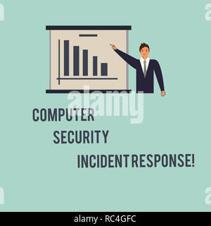 Handwriting text Computer Security Incident Response. Concept meaning Technology errors safety analysisagement Man in Business Suit Standing Pointing  - Stock Photo