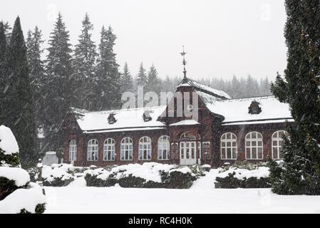 KARLOVA STUDANKA, CZECH REPUBLIC – JAN 2, 2019: Summer Spa building in Mountain Spa Karlova Studanka during winter, Jesenik, Czech Republic. - Stock Photo