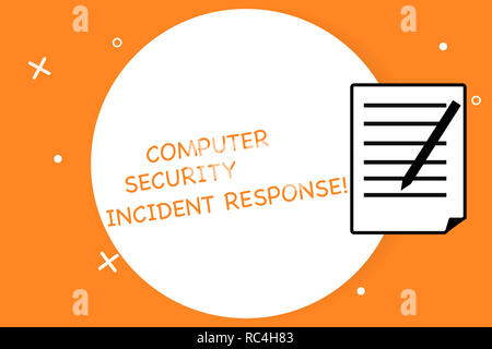 Handwriting text writing Computer Security Incident Response. Concept meaning Technology errors safety analysisagement Sheet of Pad Paper with Lines a - Stock Photo