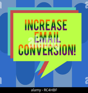 Handwriting text Increase Email Conversion. Concept meaning Action taking place on your landing page Stack of Speech Bubble Different Color Blank Colo - Stock Photo