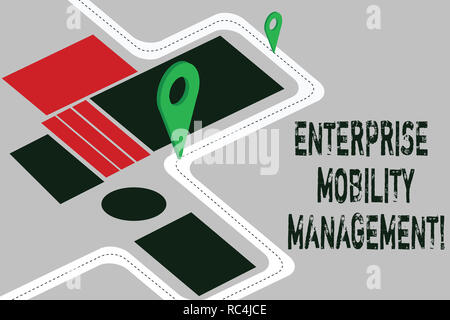 Word writing text Enterprise Mobility Management. Business concept for Approach use in analysisaging smartphones Road Map Navigation Marker 3D Locator - Stock Photo