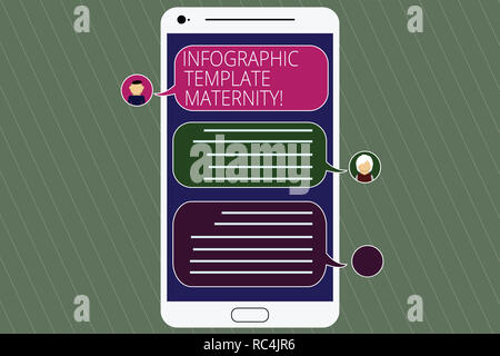Handwriting text Infographic Template Maternity. Concept meaning Motherhood elements, material and guidelines Mobile Messenger Screen with Chat Heads  - Stock Photo