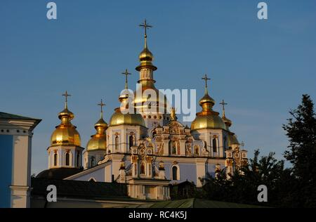 Ukraine. Kiev. St. Michael's Golden Domed Monastery.  The exterior was rebuilt in the ukrainian baroque style in the 18th century. Was demolished by soviet in the 1930. Reconstructed in 1999. - Stock Photo