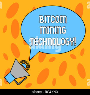Text sign showing Bitcoin Mining Technology. Conceptual photo trades processing in the digital currency system Blank Oval Outlined Speech Bubble Text  - Stock Photo