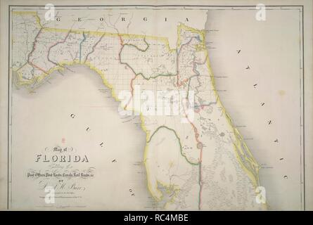 Florida. The American Atlas; exhibiting the Post Offices, P. [Washington, D.C.] : D.H. Burr, July 10th, 1839. Map of Florida.  Image taken from The American Atlas; exhibiting the Post Offices, Post Roads, Rail Roads, Canals, and the Physical & Political Divisions of the United States of North America; Constructed from the Government Surveys & other Official Materials. By D.H. Burr. John Arrowsmith [del]..  Originally published/produced in [Washington, D.C.] : D.H. Burr, July 10th, 1839. . Source: Maps.145.e.8, no.15. Language: English. - Stock Photo