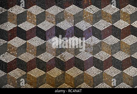 Roman mosaic with a cube pattern giving a three dimensional effect. Glyptothek. Munich. Germany. - Stock Photo
