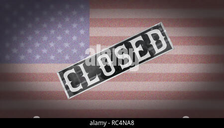 As a backdrop, the US flag. In front you see the 'CLOSED' sign. Closeness. - Stock Photo