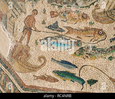 Roman mosaic. Port scenes. 3rd-4th century. From Vega Baja de Toledo. Museum of Hospital de la Santa Cruz. Toledo, Spain. - Stock Photo