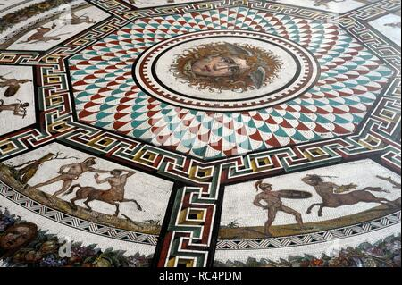 Roman mosaic replica of the Baths of Ocriculum (Otricoli, Italy). Small Hermitage. Pavilion Room. The State Hermitage Museum. Saint Petersburg. Russia. - Stock Photo