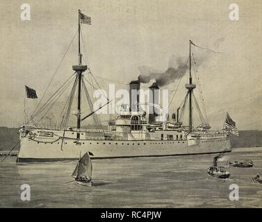 Spanish-American War. The American naval ship USS Maine (ACR-1) anchored in the Havana Harbor. On 15 February 1898 exploded, serving of pretext to the United States to declare the war to Spain. Engraving. - Stock Photo