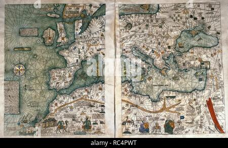The Catalan Atlas, 1375. Attributed to the Majorcan Jewish cartographers Abraham and Jehuda Cresques, was service of King of Aragon. National Library of France, Paris. Stock Photo