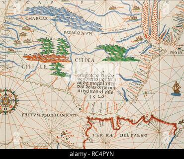Portolan atlas of the world by Joan Martines (1556-1590). Messina, 1587. Strait of Magellan, Patagonia and Tierra de Fuego. National Library. Madrid. Spain. - Stock Photo