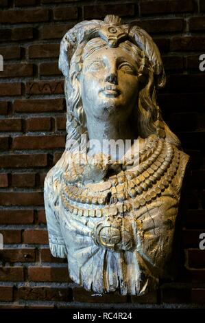 The figurehead from an unknown vessel. Found adrift on the coast of Helgeleand in Northern Norway. Norwegian Martime Museum. Oslo. Norway. Detail. - Stock Photo