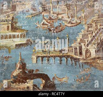 Roman fresco depicting a panorama of a port, usually identified with that of Pozzuoli. Second half of the 1st century AD. From Stabiae. National Archaeological Museum. Naples. Italy. - Stock Photo