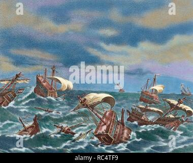 Spanish Armada. Spanish fleet sent by Spanish king Philip II (1527-1598) against England in 1588, under the command of Alonso Perez de Guzman, 7th Duke of Medina Sidonia (1550-1615). Destruction of the Spanish Armada. Engraving. Colored. - Stock Photo