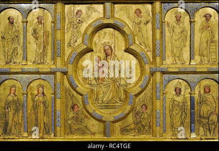 Golden panel from st. Ursula, detail. Cologne, c. 1170. Painting: 15th century and 1844. Oak, gilt copper, cast bronze, with enamel, stucco and opaque paint. Museum Schnu_tgen. Cologne, Germany. - Stock Photo