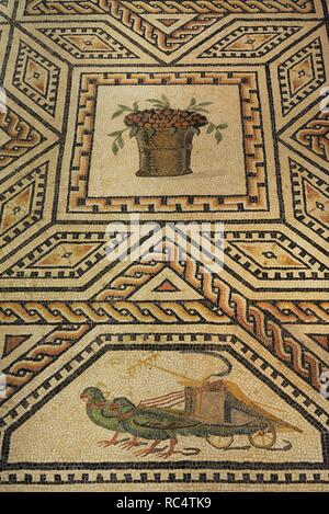 Dionysus Mosaic. Detail. 3rd century. Roman. It decorated the floor of the banquet hall, on the west side of the peristyle of a large house. Found in Cologne, Germany. Roman-Germanic Museum. Cologne. Germany. - Stock Photo